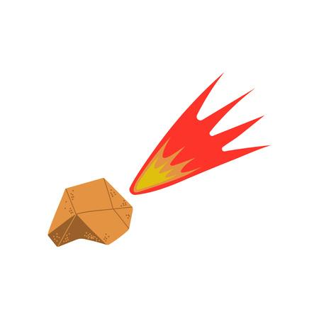 Flying Flaming Meteorite, Space, Cosmos Theme Design Element Cartoon Vector Illustration