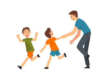 Dad and Sons Playing Catch Up and Tag Game, Father and His Children Having Good Time Together, Best, Dad, Happy Family Cartoon Vector Illustration on White Background.