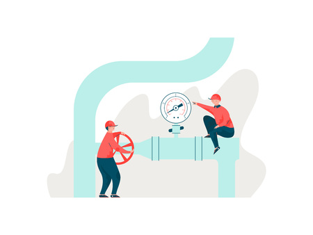 Engineers Inspecting Pipeline, Workers in Uniform Servicing Engineering Equipment Vector Illustration on White Background.