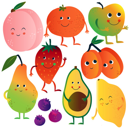 Funny Fruits and Vegetables Cartoon Characters with Funny Faces Set, Peach, Tomato, Apple, Strawberry, Avocado, Lemon, Blueberries, Apricots, Pear Vector Illustration Ilustração
