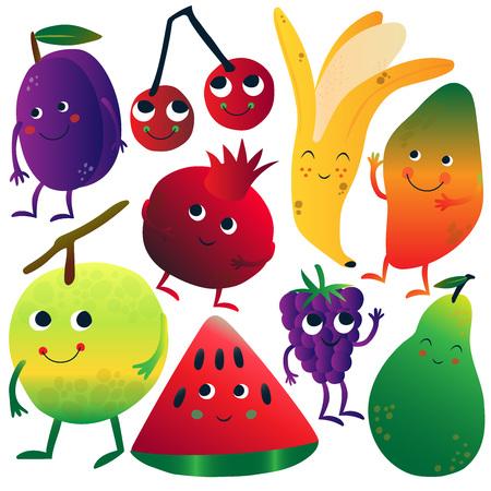 Funny Fruits Cartoon Characters with Funny Faces Set, Plum, Ripe Cherries, Banana, Mango, Apple, Watermelon, Blackberry, Pomegranate Vector Illustration