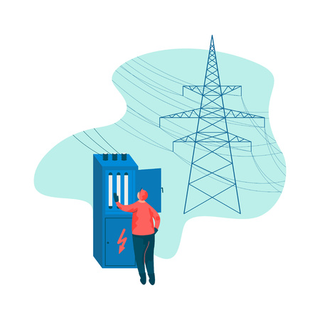 Electrical Engineer and Power High Voltage Tower Vector Illustration on White Background. Ilustração