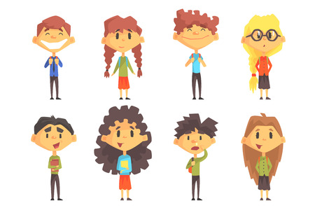 Disciples of elementary school. Cute boys and girls with backpacks on shoulders and books in hands. Funny cartoon characters. Flat vector set. Colorful illustrations isolated on white background. Illusztráció