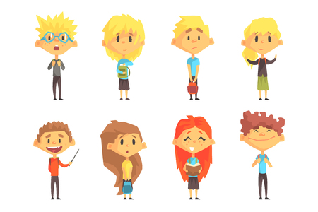 Set of funny school children. Kids with books in hands and backpacks on shoulders. Cute boys and girls in casual clothes. Cartoon characters. Colorful flat vector design isolated on white background.