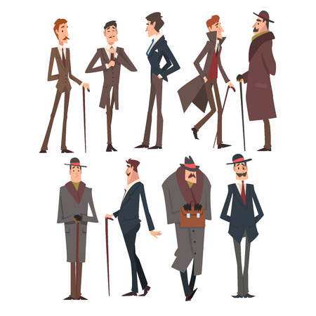 Self Confident Victorian Gentlemen Characters Set, Rich and Successful Men in Elegant Suits Vector Illustration on White Background. Vector Illustration