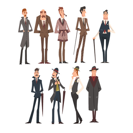 Victorian Gentlemen Characters Set, Rich and Successful Men in Elegant Suits Vector Illustration on White Background.