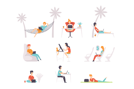 Set of people with laptops. Men and women working at different places home, outdoor, office, and vacation. Freelance work. Colorful vector illustrations in flat style isolated on white background. 向量圖像