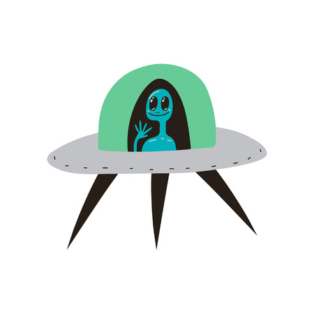 Ufo Spaceship, Space, Cosmos Theme Design Element Cartoon Vector Illustration on White Background.