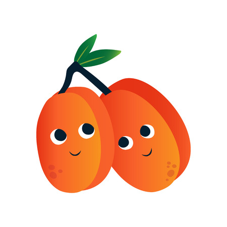 Cute Peaches, Funny Fruits Cartoon Characters with Funny Face Vector Illustration on White Background. Ilustração