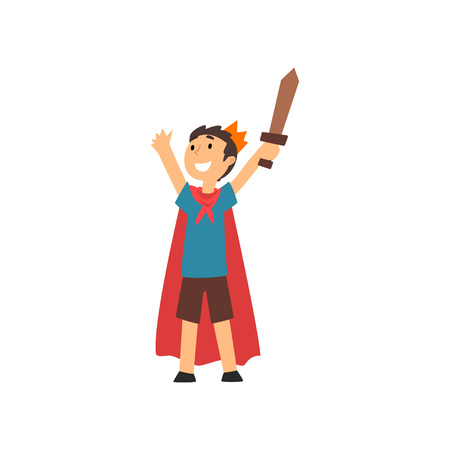 Cute Smiling Boy in Costume of Knight Cartoon Vector Illustration