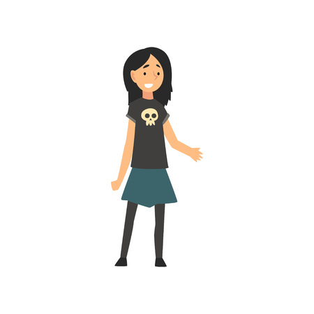 Cute Smiling Happy Girl in Black T-shirt with Human Skull, Blue Skirt and Black Tights Cartoon Vector Illustration