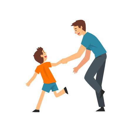 Dad and Son Playing Catch Up and Tag Game, Father and His Child Having Good Time Together, Happy Family Cartoon Vector Illustration on White Background.