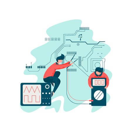 Ingeniero eléctrico que trabaja con ingenieros Los electricistas trabajan con equipos eléctricos Ilustración vectorial sobre fondo blanco. Ilustración de vector