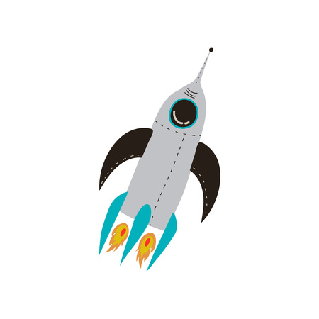 Rocket Launch, Cosmos Theme Design Element Cartoon Vector Illustration on White Background.
