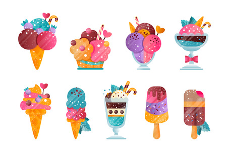 Set of ice-cream with gradients and texture. Creative icons of tasty frozen desserts decorated with sprinkles, berries, leaves and candy canes. Flat vector illustrations isolated on white background.