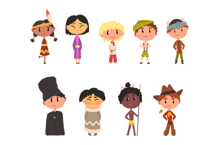 Kids in national clothes, boys and girls cartoon characters in traditional costume of American Indian, Japanese, American Cowboy, Eskimo, Russian, Australian Aboriginal, Northern European, German vector Illustration isolated on a white background.
