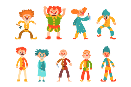 Collection of evil clowns. Scary men in colorful costumes and weapon in hands. Cartoon characters with makeup on faces and crazy hair. Vector illustrations in flat style isolated on white background.