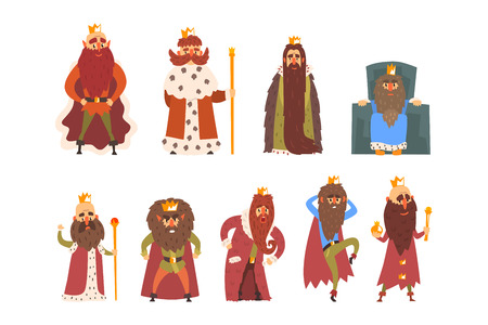 Set of funny medieval kings with long beards and golden crowns. Rulers of fairytale kingdoms. Cartoon male characters. Design for postcard or children book. Flat vector illustration isolated on white.