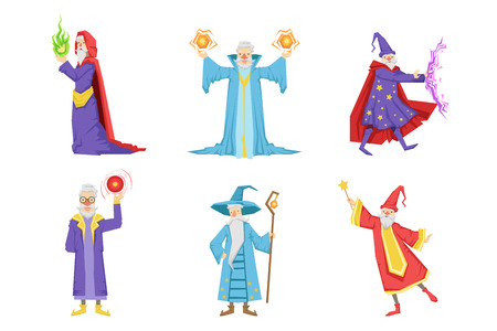 Set of gray-bearded wizards. Cartoon characters of old men s with magical powers. Graphic elements for mobile game or children book. Colorful flat vector illustration isolated on white background.