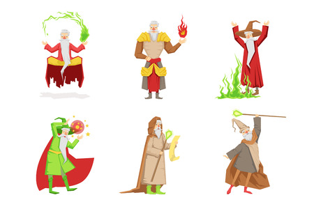 Set of fantasy wizards from children fairy tales. Old gray-bearded men s in different actions. Magicians in bright-colored clothes. Cartoon characters. Flat vector design isolated on white background.