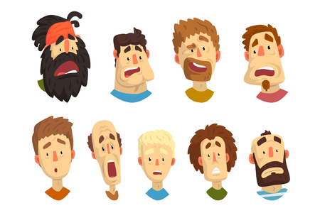 Set of male portraits with surprised and shocked facial expressions. Young guys and adult men. Cartoon people characters. Colorful flat vector illustration isolated on white background. Illustration