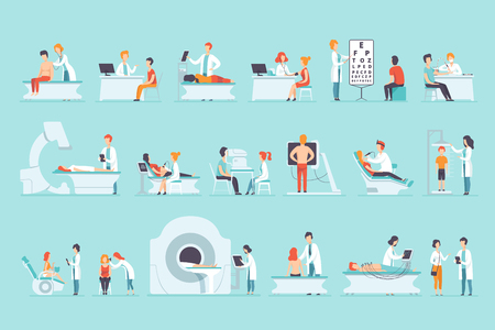 Set of people on medical examination. Doctors and patients. Medical service. Professionals at work. Healthcare and treatment. Hospital concept. Flat vector illustration isolated on blue background.