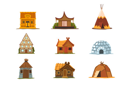 Traditional buildings of different countries set, houses from around the world vector Illustrations isolated on a white background. Illustration