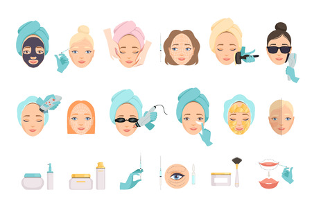 Types of procedures for facial rejuvenation and products for face care. Cosmetology and beauty industry theme. Flat vector icons