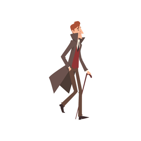 Elegant Victorian Gentleman Cartoon Character Walking with Cane Vector Illustration on White Background.