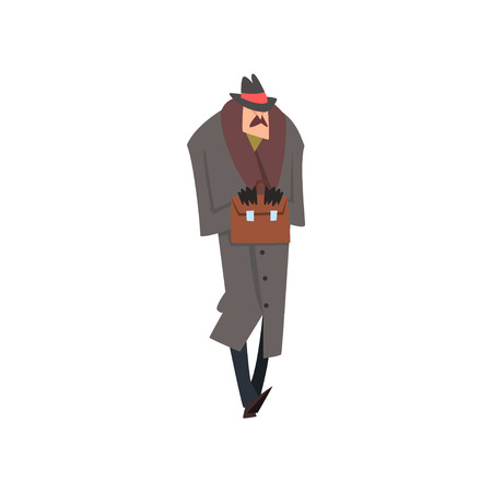 Confident Victorian Gentleman Character in Winter Grey Coat and Hat Standing with Briefcase Vector Illustration on White Background.