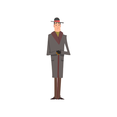 Elegant Victorian Gentleman Character in Grey Coat and Hat Standing with Walking Cane Vector Illustration on White Background. Ilustração