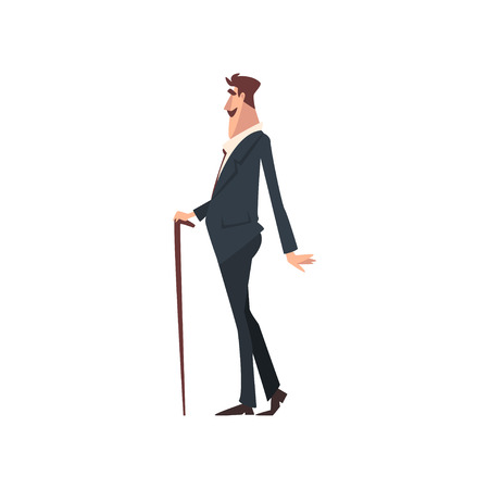 Elegant Victorian Gentleman Character in Black Suit Walking with Cane, Side View Vector Illustration on White Background.