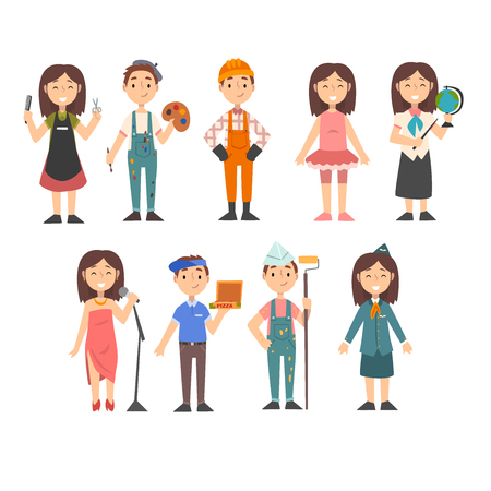 Kids of Various Professions Set, Hairdresser, Painter, Construction Worker, Dancer, Teacher, Singer, Pizza Delivery Boy, Artist, Stewardess, Kids Dreaming of Future Profession Vector Illustration on White Background.