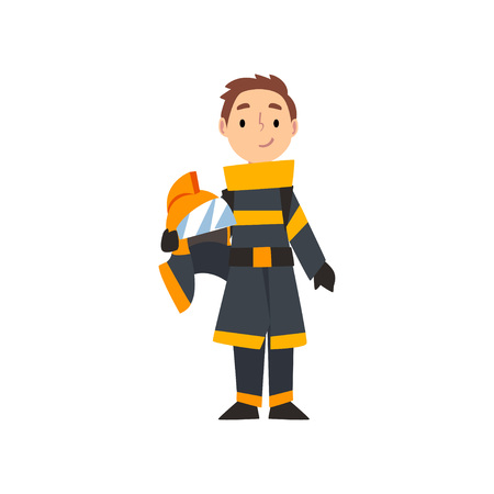 Boy Firefighter Character in Uniform, Kid Dreaming of Future Profession Vector Illustration Stock Illustratie