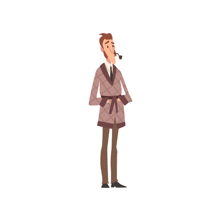 Victorian Gentleman Cartoon Character Smoking Pipe Vector Illustration on White Background.