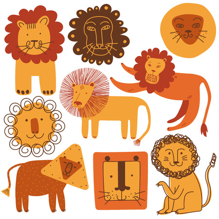 Cute Lions Set, Design Elements Can Be Used for T-shirt Print, Poster, Card, Label, Badge Vector Illustration on White Background. Archivio Fotografico - 124056408