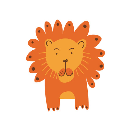 Cute Lion, Front View, Design Element Can Be Used for T-shirt Print, Poster, Card, Label, Badge Vector Illustration on White Background. Illustration