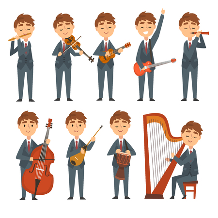 Musicians Boys Playing Different Musical Instruments Set, Talented Children Characters Playing Flute, Violin, Guitar, Ukulele, Harp, Cello, Ethnic Drum Vector Illustration on White Background.