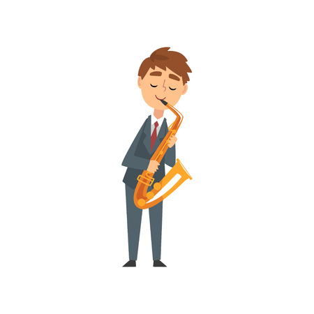 Boy Playing Saxophone, Talented Young Saxophonist Character Playing Acoustic Musical Instrument, Concert of Classical Music Vector Illustration on White Background. Vektorové ilustrace