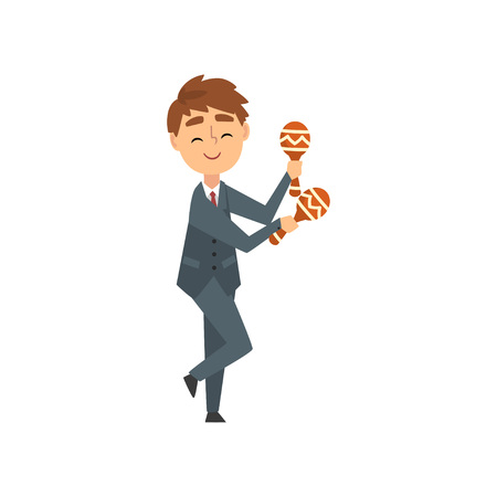 Boy Playing Maracas, Talented Young Musician Character Playing Percussion Musical Instrument at Concert of Classical or Folk Music Vector Illustration on White Background.