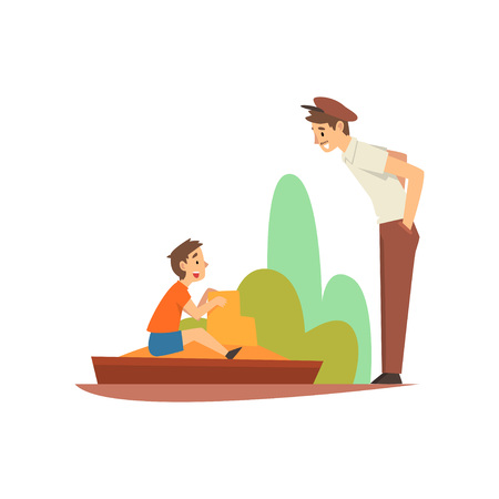 Boy Playing in Sandpit in Park or on Playground, Smiling Man in Cap Talk with Him Vector Illustration on White Background.