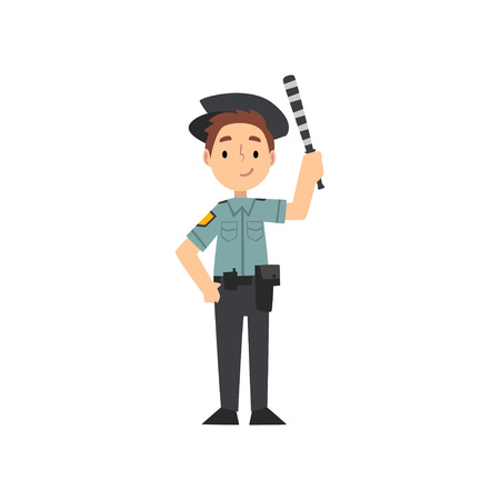 Boy Police Officer Character Managing Road Traffic, Traffic Policeman, Kid Dreaming of Future Profession Vector Illustration on White Background.