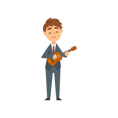 Boy Playing Ukulele, Talented Young Musician Character Playing Acoustic Musical Instrument Vector Illustration on White Background.