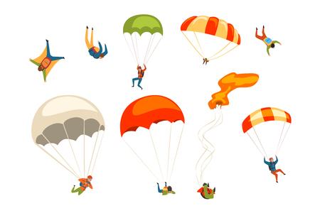 Parachutistes volant avec ensemble de parachutes, sport de parachutisme extrême et vecteur de concept de parachutisme Illustrations isolées sur fond blanc.