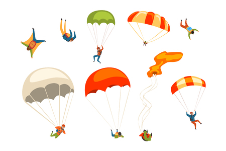 Skydivers flying with parachutes set, extreme parachuting sport and skydiving concept vector Illustrations isolated on a white background.