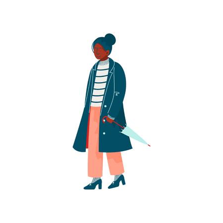 Beautiful Woman Dressed in Stylish Seasonal Clothes Walking with Umbrella Vector Illustration on White Background. Illustration
