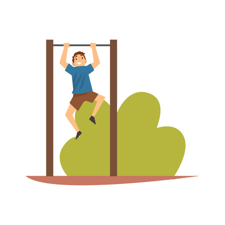 Smiling Boy Hanging on Horizontal Bar in Park or on Playground Vector Illustration on White Background.