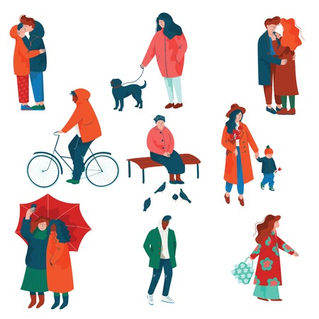 People Dressed in Seasonal Clothes Set, Men and Women Performing Spring Season Outdoor Activities Vector Illustration