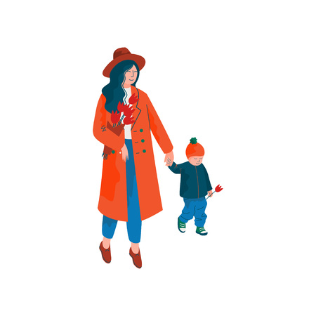 Mother and Her Little Son Walking Holding Hands, Beautiful Woman Dressed in Red Coat and Hat with Bouquet of Spring Flowers Vector Illustration on White Background. Stock Illustratie