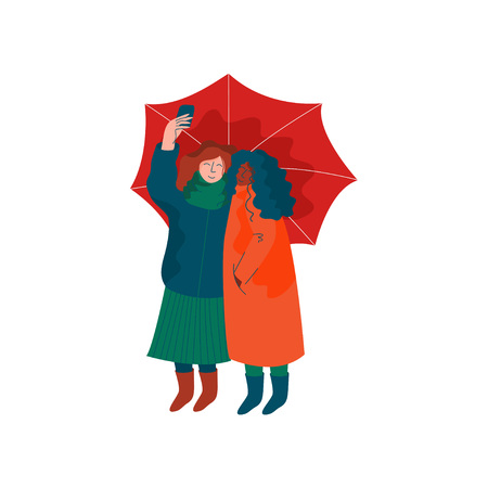 Two Girls Dressed in Seasonal Clothes Walking under Umbrella, Spring Season Outdoor Activities Vector Illustration on White Background.